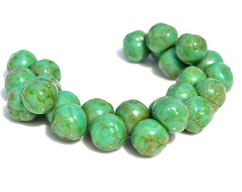 Green Turquoise Picasso10mm Rosebud Button Beads  10