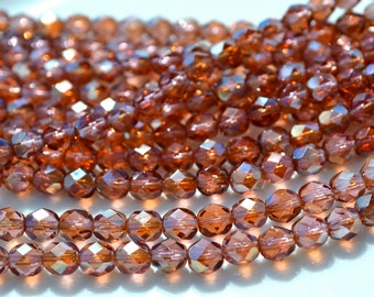 Beautiful French Rose Celsian 6mm Facetd Fire Polish Round Czech Glass Beads  25