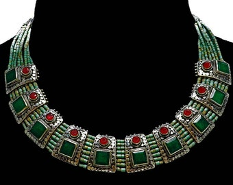 Elegant Nepali Vintage Emerald & Ruby Necklace