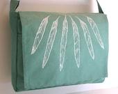 Mint Original Feather Screen Print MESSENGER Book Laptop Diaper Bag