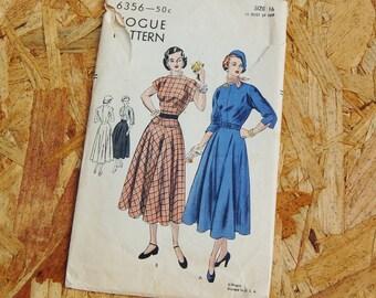Vintage Vogue 1940's A-line Kimono Sleeve Dress 6356 Size 16 Bust 34 RARE
