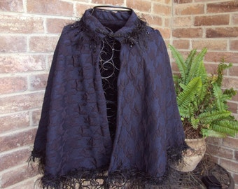 Black and blue Victorian cape, renaissance cape, with black and beaded trim