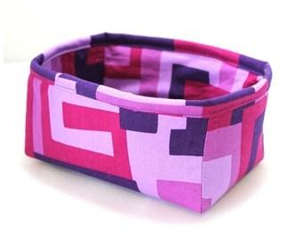 Fabric Box Bowl Basket Essential Oil Storage Purple Maze