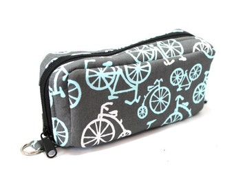 Essential Oil Case Holds 10 Bottles Essential Oil Bag Blue and White Bicycles on Gray