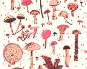 Mushrooms, screen print on paper