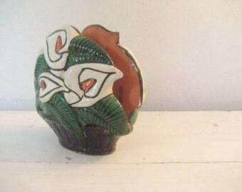 Vintage Napkin or Letter Holder- Handpainted Terracotta Ceramic- Lilies