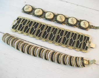 Set of 3 Vintage Goldtone Metal and Enamel Bracelets