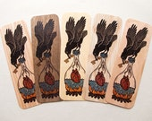 Raven heart woodcut art bookmark 6 x 2 inches