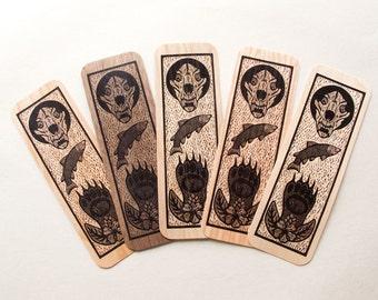 1 Genuine wood Bear woodcut art bookmark 6 x 2 inches