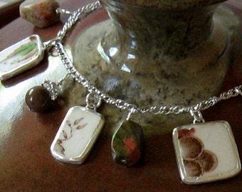 "Vintage Broken China, Ceramic Shard Bracelet Sterling Silver & Stone Beads, ""Autumn Delight"" Pattern by Johnson Brothers"