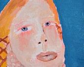 Acrylic Portrait Painting. Girl Yellow Braids. Pink Cowl. 4x4 Mini Painting. Slate Blue Art. Miniature Painting