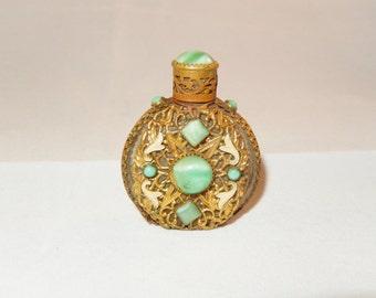 Vintage Czechoslovakia Enamel & Glass Perfume Bottle