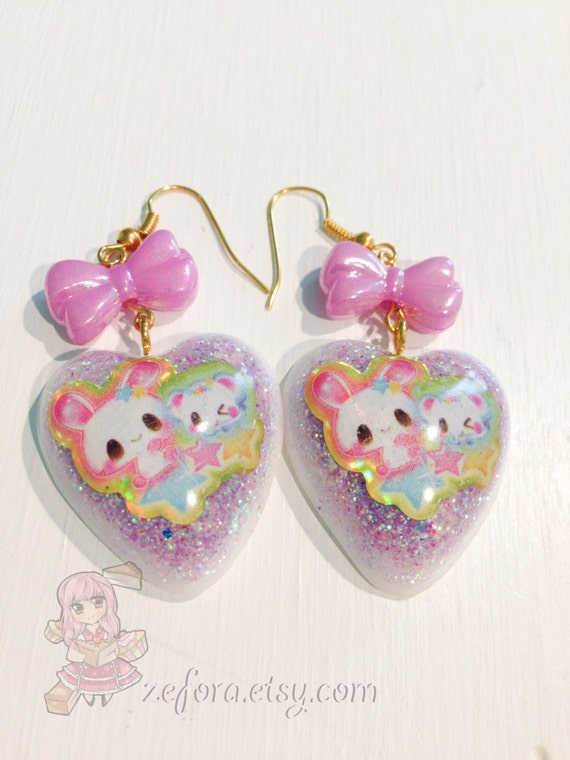 Kawaii Bunnies Glitter Resin Heart Bow Dangle Earrings
