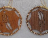 FEATHER DREAM CATCHER choice of Cherry or Walnut  Large 3.75 in.  Diameter