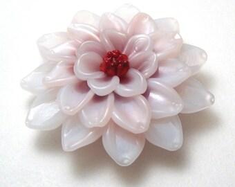 PINK DAHLIA Sculpted Lampwork Focal Flower Bead sra