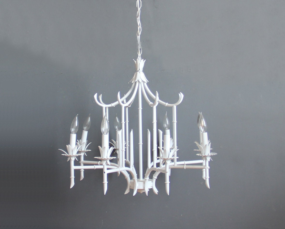 Large Faux Bamboo Pagoda Chandelier