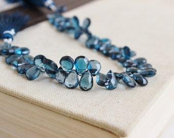 Outrageous London Blue Topaz Briolette Gemstone Faceted Pear TearDrop 10.5mm 6 beads