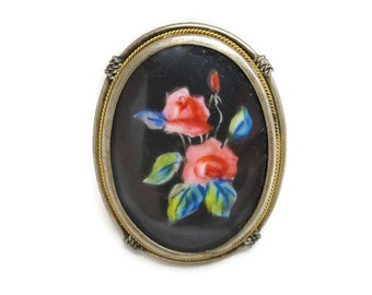Antique Painted Pendant Brooch - 800 Silver, Pink Roses on Black