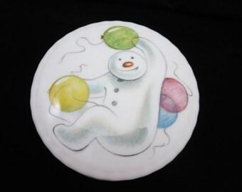 Royal Doulton Snowman Box - Balloons, Porcelain Trinket Box, 1980s, Cartoon Animated Character