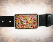 Belt Buckle - The Fire Breather - Leather Insert Belt Buckle