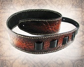 Leather Guitar Strap - Sunset Scales