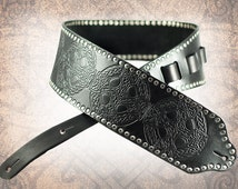Leather Guitar Strap - Celtic Cross