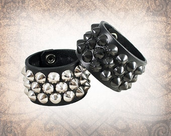 Studded Leather Cuff, Leather Cuff, Leather Wristband, Leather Bracelet, Black Leather Cuff - Conical 3-Row, Custom to You (1 cuff only)