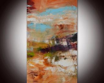 Abstract orange painting , purple blue art, salmon pink abstract, pink painting, abstract art, colorful artwork - Strata