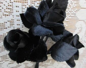Vintage Millinery Flowers Black Velvet and Satin Roses Made In Japan 1950s  VF 077 BK