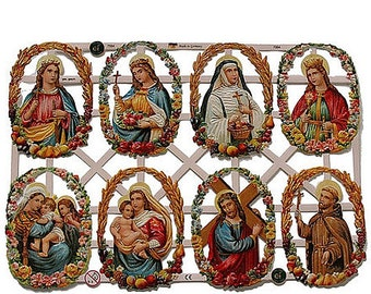 Germany Lithographed  Die Cut Paper Sacred Heart Scraps Religious  7334
