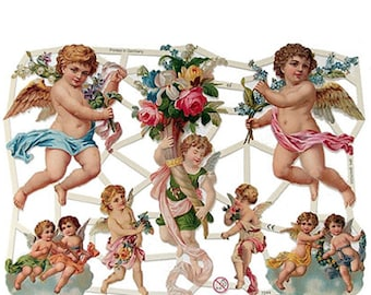 Germany Paper Lithographed Die Cut Scraps Victorian Angels  7244