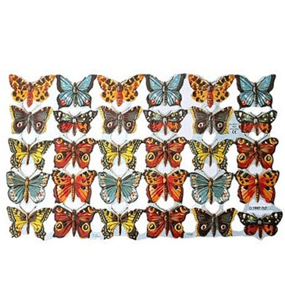 England Paper Scraps Lithograph Die Cut Butterflies  1761