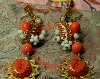 Miriam Haskell Assemblage Dangle EARRINGS CORAL and MILKGLASS Beads with Vintage Coral Satin Glass Buttons Screwbacks