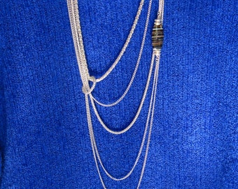 Silver chain Chantilly necklace Genuine agate stone Multi strand  asymmetrical chic design Sterling plated non tarnish metal