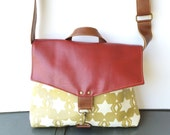 SALE commuter • leather and printed canvas crossbody bag  • metallic gold geometric print canvas - red • cross body messenger bag • hex