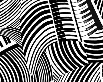 Jazzy Keys Piano Black and White Benartex Fabric 1 yard