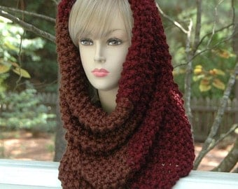 Chunky Knit Scarf Cowl Claret Burgundy & Wood Colorblock Knit Infinity Scarf Cowl Hood, Original Oversized Chunky Knit Design in Moss Stitch