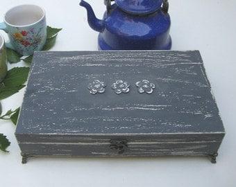 Tea box grey Shabby Chic Home Decor / Tea bag box wooden tea box & Wooden tea box   Etsy Aboutintivar.Com