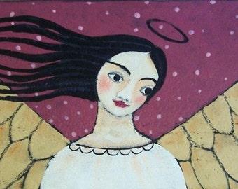 Original Folk Art Angel Painting by the artist