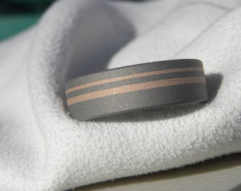 Titanium Ring, Wedding Band, Rose Gold Inlay Stripes, Unique Look