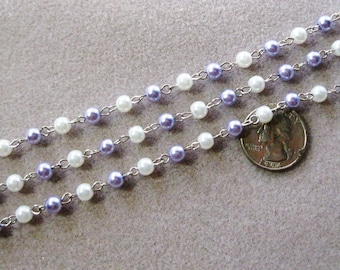 """One Meter 39.5"""" Lilac Purple White Glass Pearl 6mm Beaded Rosary Link Chain Silver 975"""