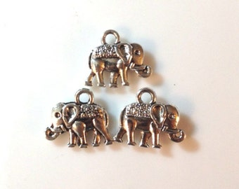 10 Elephant 2 Sided Charms - Antique Silver - SC39#GE
