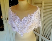 White LILY Bridal French lace Capelet bridal lace wrap white bridal cape