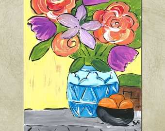 Instant Download- Acrylic- Flowers Print