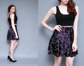 Vintage 90s Purple Floral HIGH Waist Satin Skirt | Ditsy GRUNGE Revival GOTH Mini - xs s