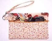 Gold Cream Orange Wristlet, Blue Crane Wallet, Rust Floral Clutch, Zippered Phone or Camera Bag, Small Zippered Purse, Autumn Makeup Bag