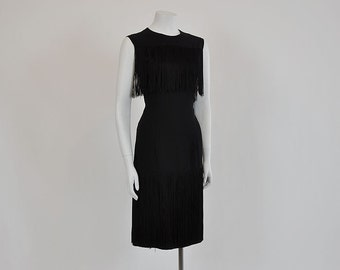 vintage dress / On the Fringe Vintage 1950's Burlesque Flapper Wiggle Dress