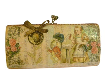 Alice in Wonderland Clutch Bag .. Alice Bridal Clutch .. custom design ..  One of a kind Personalized gift idea .. FREE SHIPPING WORLDWIDE