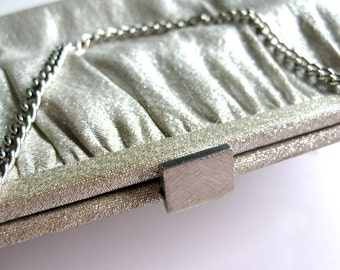 1960s Sparkly Silver Lame Clutch with Silver Clasp Evening Bag - Glittery Glamour Handbag Purse