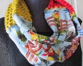 Quirky Infinity cowl tube SCARF vintage recycled jersey cotton acrylic crocheted unique cowboys and horses scarf